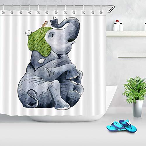 Zange Tierhut Elefant & Maus HD-Druck, wasserdichter Duschvorhang für das Badezimmer, 12 Haken kostenlos, 180x180cm