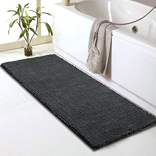 Sheepping Chenille Bathroom Rugs Runner (59' x 20') - Anti-Slip Long Bath Mat, Extra Soft,Absorbent and Machine Washable,Shaggy Chenille Noodle Bath Rugs for Bathroom,Bedroom and Kitchen,Grey