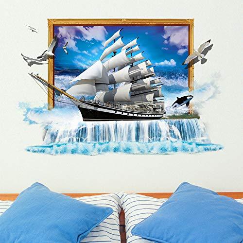 HZDXT Vinilo 3D etiqueta de la pared de la ventana falsa, agua caída barco de vela pájaros volando calcomanías, para el hogar dormitorio sala de estar decoración mural papel tapiz