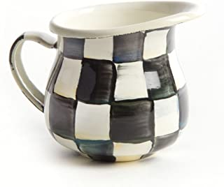 Little Pitcher – Stainless Steel Enamel Courtly Check - Black and White ,Little Coffee Creamer -4