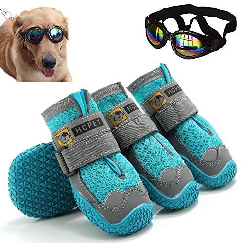 Hmpet Zapatos para Mascotas Gafas para Perros,Botas Transpirables para Cachorros, Botas Antideslizantes de Nieve para Perros y Mascotas Zapatos de Lluvia para Perros,Azul,1#4cm
