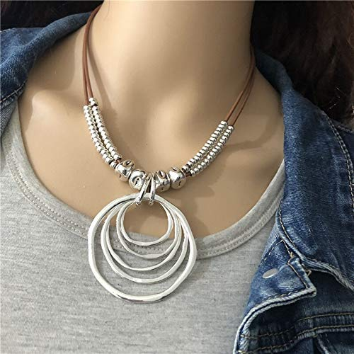 ghn Chain Necklaces Anslow Trendy Round With Round Pendant Neckalce For Women Vintage Boho Genuine Leather Necklace LOW0022AN Jewelry & Accessories