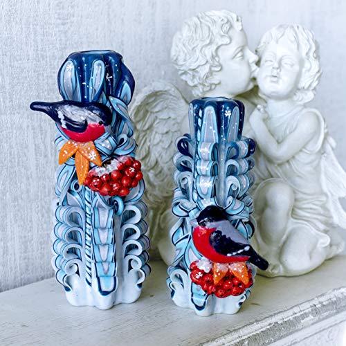 Conjunto de velas talladas azules con pájaros para un perfecto regalo de Navidad - decoración única para el...
