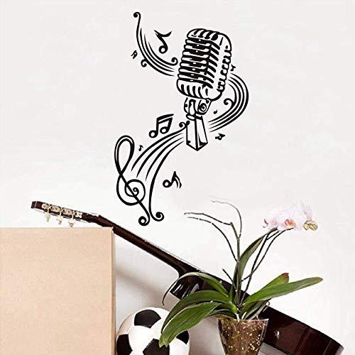 Muursticker voor de muur, met microfoon en notities, vinyl, voor kinderkamer of om te knutselen, voor decoratie in huis, accessoires, 37 x 59 cm