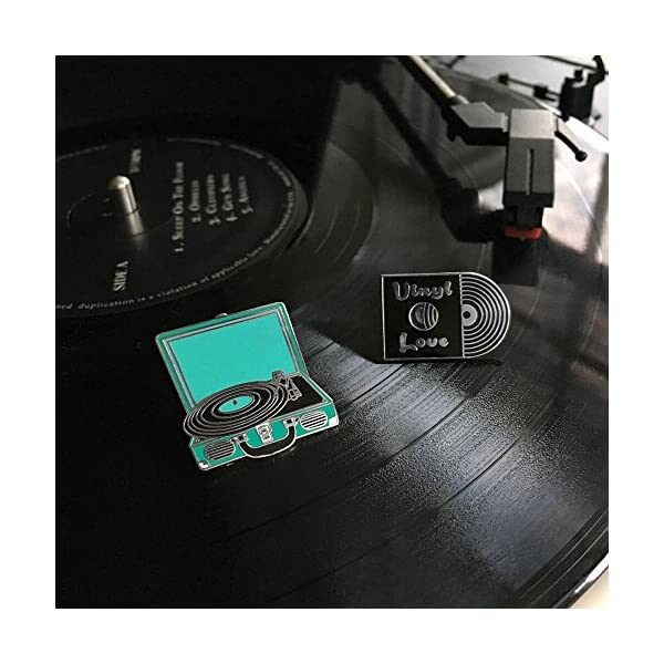 PinMart Retro Vinyl Record & Record Player Music Trendy Enamel Lapel Pin Set
