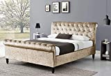 <span class='highlight'>CHESTERFIELD</span> CASTELLO <span class='highlight'>Classy</span> <span class='highlight'>Modern</span> Double (4ft6) <span class='highlight'>Bed</span> <span class='highlight'>Frame</span> <span class='highlight'>Sleigh</span> <span class='highlight'>Style</span> Fully Upholstered Designer <span class='highlight'>bed</span> in Crushed Velvet or Chenille Fabric (Champagne)