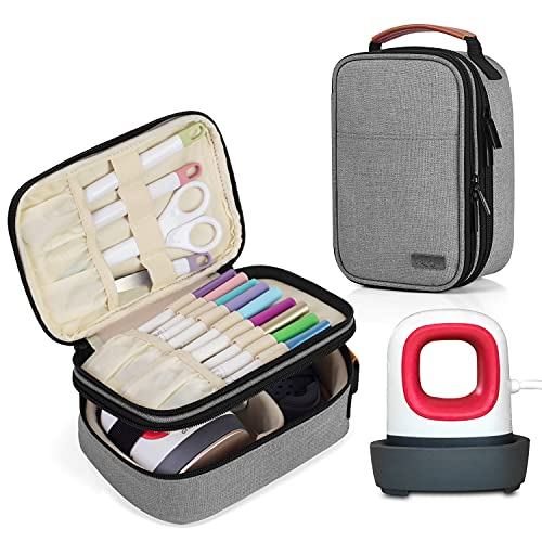 Luxja Double-Layer Carrying Case Compatible with Cricut Easy Press Mini, Tote Bag Compatible with Cricut Easy Press Mini and Supplies (Bag Only,Patent Pending), Gray