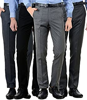 American-Elm Men's Slim Fit Formal Trousers (Pack of 4)