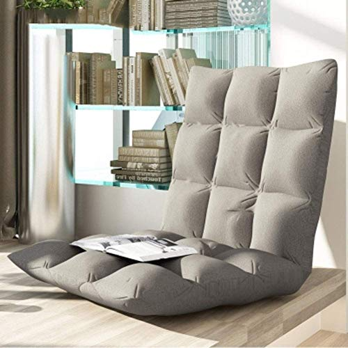 DIAOD Padded Floor Chair Backrest, Folding Lazy Recliner, Floor Seating Sofa Chair for Reading TV Watching Meditating or Gaming (Color : Gray)