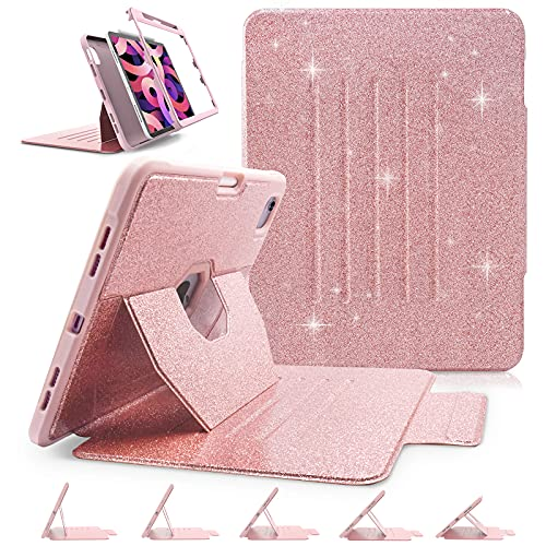 iPad Air 4th Generation Case, iPad Air 10.9 Case 2020 with Pencil Holder [Support Touch ID and 2nd Pencil Charging] Auto Sleep/Wake, Adjustable Stand, Glitter Sparkly Cover for Girls Women, Rose Gold