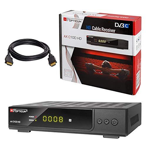 Kabel Receiver DVB-C Set: HB DIGITAL Opticum AX C100 HD PVR DVB-C Receiver für Kabelfernsehen mit Aufnahmefunktion + HDMI Kabel (Full HD Ready, HDTV, HDMI, SCART, USB 2.0, SPDIF Koaxial Ausgang)