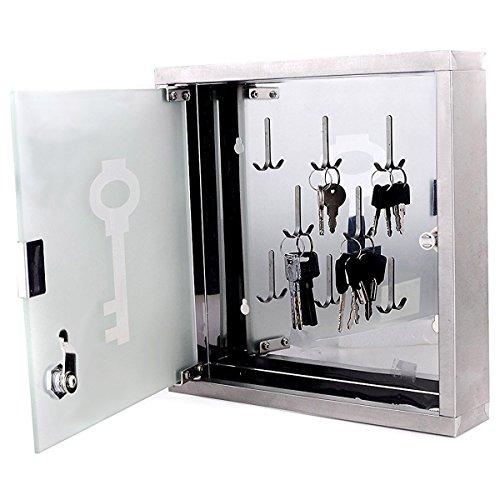 Goods & Gadgets - Armadietto portachiavi in acciaio INOX, da parete, con porta in vetro