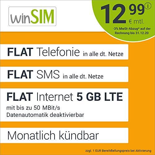 winSIM LTE All 5 GB Allnet Flat - monatlich kündbar (FLAT Internet 5 GB LTE mit max. 50 MBit/s mit deaktivierbarer Datenautomatik, FLAT Telefonie, FLAT SMS und EU-Ausland 12,99 Euro/Monat)