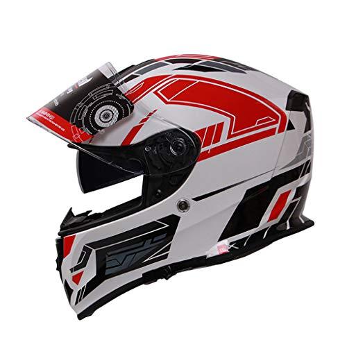 GHMH-helmet Casque de Moto de Plein air sécurité Pleine Couverture Quatre Saisons Unisexe Double Objectif Casque Unisexe (Couleur : C, Taille : XL)