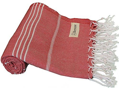 Bersuse Toalla turca Anatolia 100% algodón – Toalla de baño de Playa Fouta Peshtemal – Pestemal clásico a Rayas – 37 x 70 Pulgadas, Color Rojo