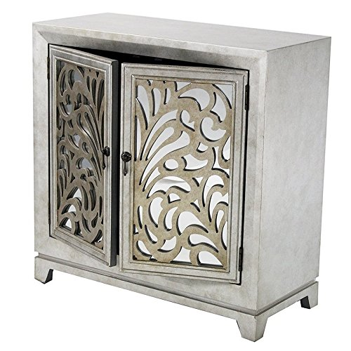 """Heather Ann Creations 2 Door Accent Cabinet/Console with Mirror Backed Carved Grille and Center Shelf, 32"""" x 32"""", Silver/Gold"""