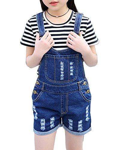 Mädchen Zerrissene Latzhose Jeans Kurz Denim Latzhose Overall + Kurze Ärmel T-Shirt Schwarz