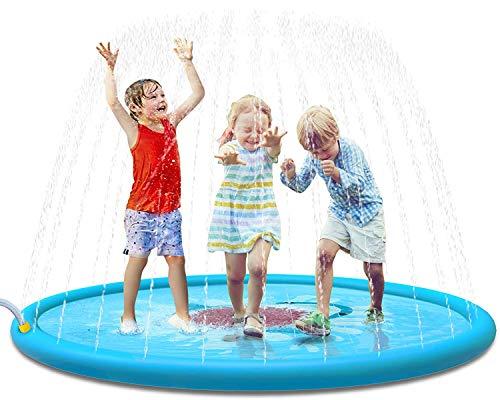 170cm Splash Pad, Kinder Baby Sprinkler Play Matte, Sommer Garten Wasser-Spielmatte Wasserspielzeug Pool Pad für Outdoor Familie Aktivitäten Party