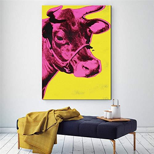 Bunte Kuh Andy Warhol Tier Gemälde Wandkunst Abstrakte Bilder Für Wohnzimmer Moderne Print Poster-60x90 cm Ungerahmt