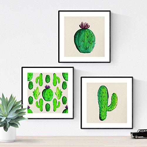 Nacnic Set 3 Stampe artistiche Vintage. Sfondo Stampe con Colori Verdi rapprsentazione vegetale. Immagini di Cactus Vintage. raffigurazioni della Natura. Stile botanico. Piante grasse