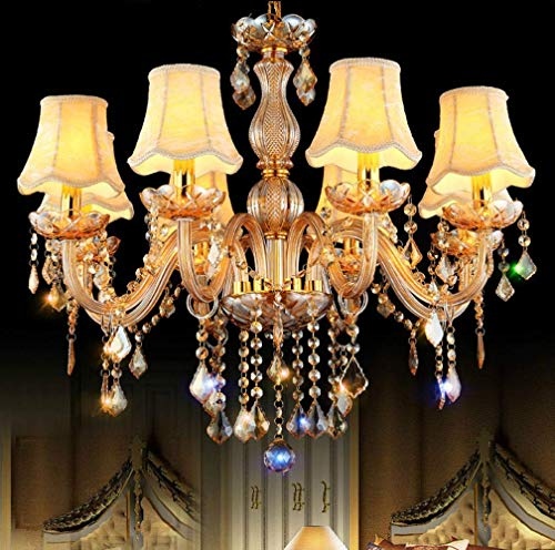 ZCZZ Lámpara de araña de Cristal para Sala de Estar de Estilo Europeo, Restaurante, Estudio, Dormitorio, lámpara, atmósfera Creativa, Villas, lámparas de ingeniería, Venta al por Mayor, Doble 8 +