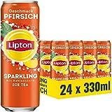 LIPTON ICE TEA Sparkling Pfirsich, Eistee mit Kohlensäure und Pfirsich Geschmack (24 x 0.33l)