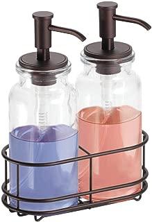 mDesign Double Liquid Hand Soap Glass Dispenser Pump Bottle Caddy for Kitchen Sink, Bathroom Vanity Countertops - Holds Castile Soap, Dish Soap, Hand Sanitizer, Essential Oils - Clear/Bronze