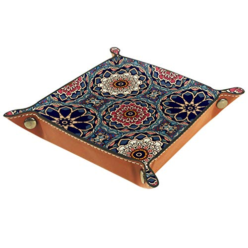 Haminaya Faltbares Tablett aus PU-Leder für Uhren, Schmuck, Aufbewahrungsbox, Mandala, psychedelisch