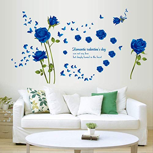 XJJSZJ Wandaufkleber Rose Flower Quote Abnehmbares Wohnzimmer Schlafzimmer Dekor Küchenfenster Badezimmerfliesen Aufkleber Wandbild Selbstklebende Wandaufkleber