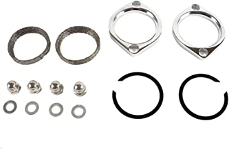 Harley Exhaust Flange Gasket Kit with Chrome finish on flanges and acorn nuts