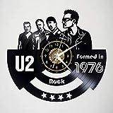 Xiayanmei U2 Disco de Vinilo del Reloj de Pared de la decoración del Arte del Ventilador Originales del Vinilo Decorativo Reloj Negro 12' (30 cm),B