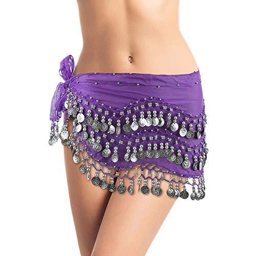 Plus Size Belly Dancing Hip Scarf - Dark Purple/Silver