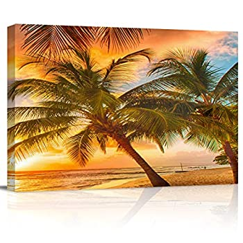 Canvas Wall Art Prints Painting Ocean Seascape Tropical Palm Tree Sunset Modern Frame Wall Decorative Artwork Ready to Hang for Living Room 12  x 16
