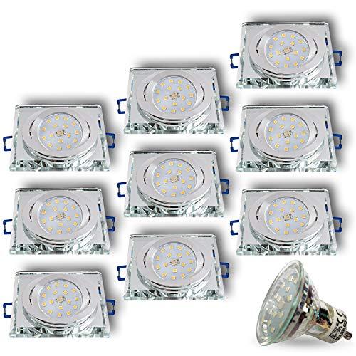 Foco LED empotrable de cristal/espejo/transparente, cristal S cuadrado, orientable, incluye 4 W LED blanco frío 230 V IP20 LED Foco de techo empotrable, 9 unidades, GU10 4.00W 230.00V