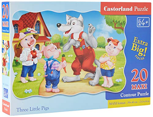 Castorland C-02399-1 Three Little Pigs, 20 Teile Maxi Puzzle, bunt