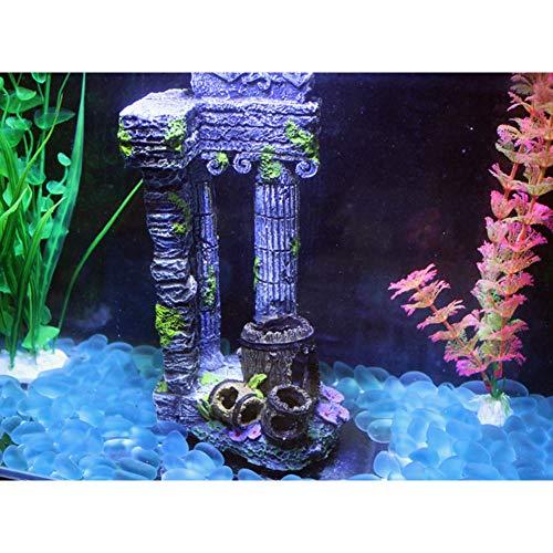 Zantec aquariumdecoratie mini-zuil Romana vierkant van hars met de decoratie van het landschapsbeeld van vis in het aquarium