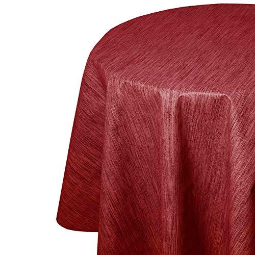 DecoHomeTextil Wachstuch Robuste Leinen Prägung Pro RUND OVAL ECKIG Breite & Länge wählbar Rot Rund 160 cm abwaschbare Tischdecke Gartentischdecke