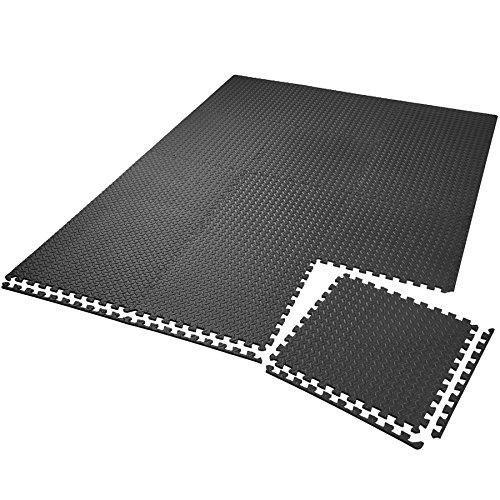 TecTake Set di tappetini di Protezione Tappetino da Fitness | Antiscivolo, antimacchia | Sistema ad Incastro ampliabile - Disponibile in Diverse quantità i Modelli Differenti (12x Nero | No. 402255)