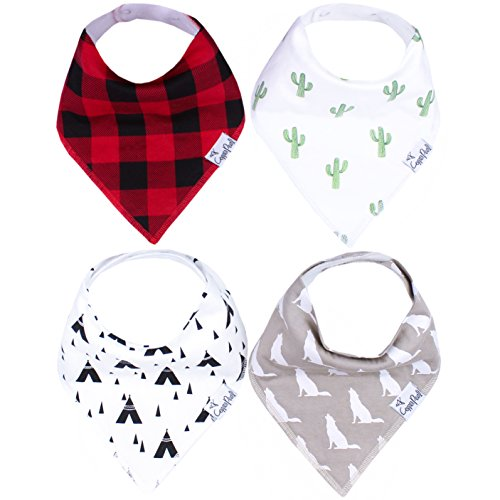"""Baby Bandana Drool Bibs for Drooling and Teething 4 Pack Gift Set for Boys """"Phoenix Set"""" by Copper Pearl"""
