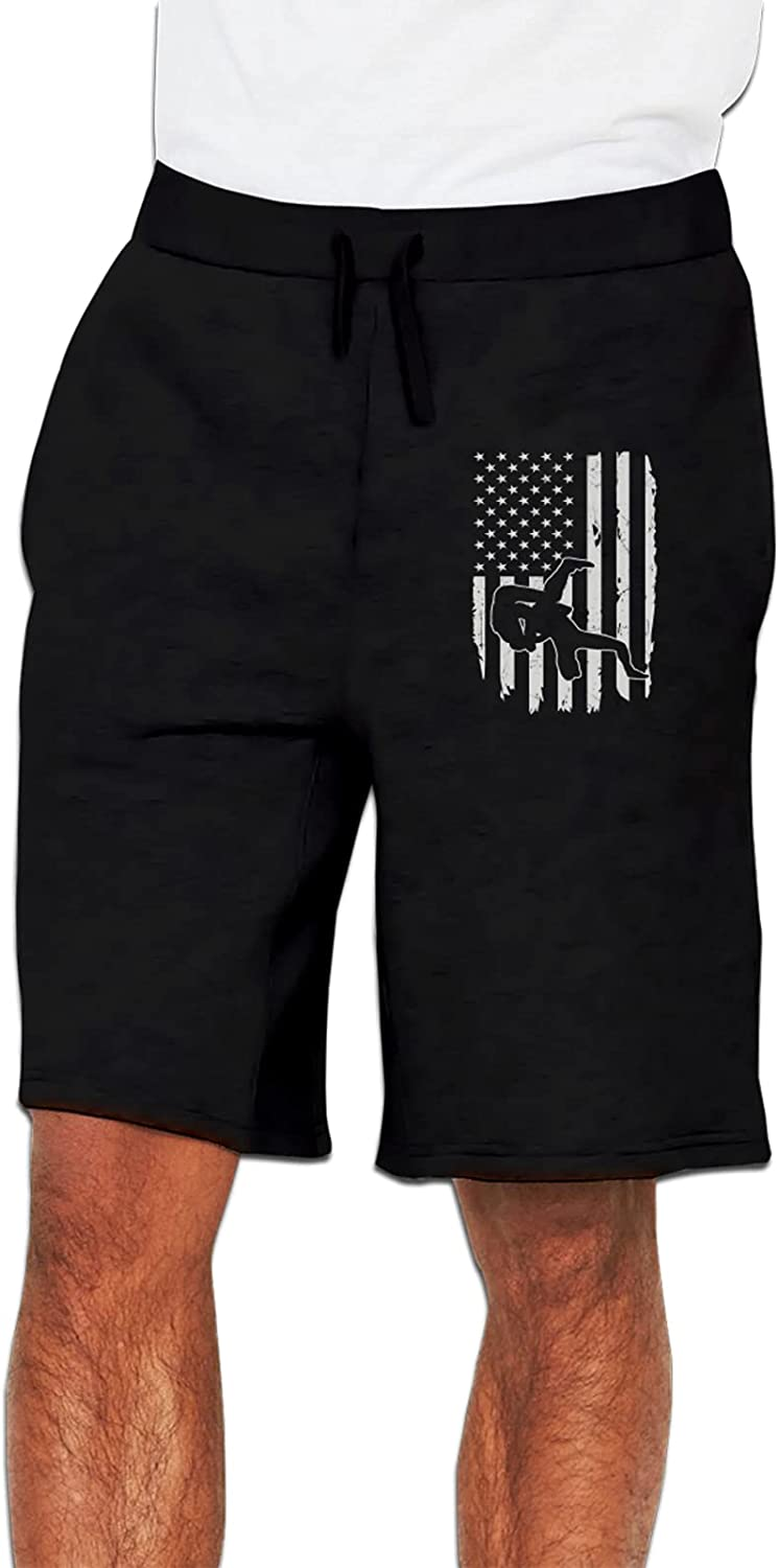 American Flag Wrestling Men's Ranking TOP11 Flat Workout Shorts Deluxe Front Running