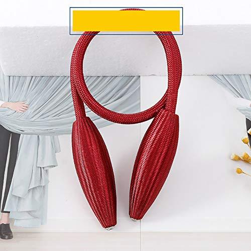 Queta Magnetische Vorhangschnalle EIN Paar handgewebte Vorhangschnallen - Kreative Casual Stil Vorhangs-Kordel-Clip, Weizenförmige Vorhangschnalle, rot, 57 cm