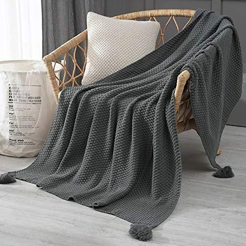 Strickdecke, Bettdecke, handgewebte Sofadecken, Foto-Requisiten, Quasten, schwere Decken, gestrickte Decken, Klimaanlagendecken, gestrickte Decke (Farbe: B grau, Größe: 110 x 240 cm)