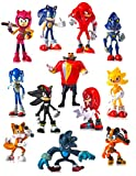Rajar 12 pcs Sonic Toys Action Figures 2.5-inch-Tall, Party Supplies Cake Toppers, Carry Bag