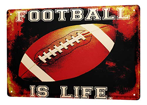LEotiE SINCE 2004 Blechschild Dekoschild Küche Garage Sport Football is Life Deko Wand Schild 20X30 cm