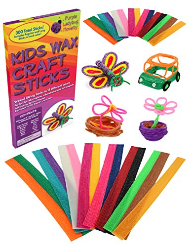 Purple Ladybug Wax Craft Sticks for Kids: 15 Colors, 2 Lengths - 6 Inch Standard & 12 Inch Super Long, 150 of Each - Bendable Sticky Yarn Stix in Bulk - Fun Art & Crafts Activity for Travel or at Home