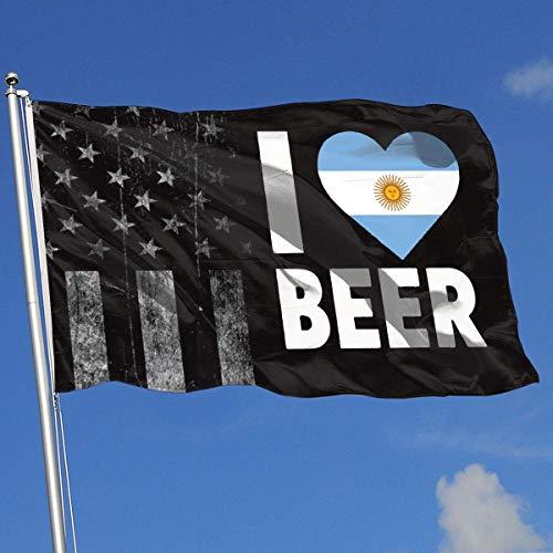 AOTADer Outdoor Flags Abgenutzte USA Flagge Ich Liebe Argentinien Bier Flagge für Sportfan Fußball Basketball Baseball Hockey