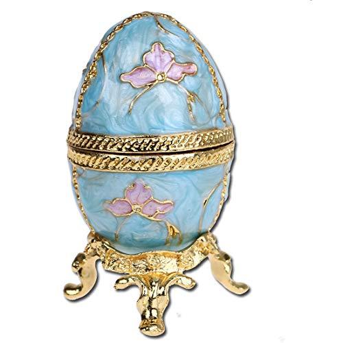 H&D - Joyero decorativo con bisagras, esmaltado a mano, estilo huevo Fabergé