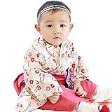 Sweet Mommy 袴 ロンパース ベビー 着物 カバーオール 日本製和柄ちりめん ホワイト 50-70