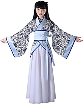 Blcswan Girls Chinese Ancient Han Dynasty Costume Dress Halloween Cosplay White