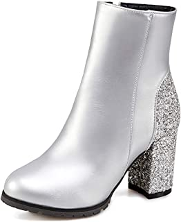 c0b60f111 Unm Women s Glitter Sequins Round Toe Wedding Short Boots Chunky High Heel  Ankle Booties with Zipper